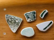 Genuine Beach Sea Glass PATTERNED GREEN Pottery Shards Surf Tumbled 5 Pieces