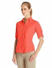 New Columbia Women's East Ridge Long Sleeve Roll Tab-Sleeve Shirt Medium Coral