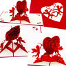 3D Pop Up Greeting Cards Cupid's Red Heart Valentines Day Love Gift Handmade New
