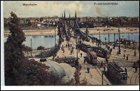 Mannheim Baden-Württemberg AK 1913 gelaufen Friedrichsbrücke Straßenbahn Tram