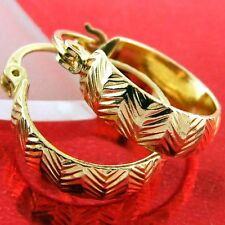 HOOP HUGGIE EARRINGS GENUINE REAL 18K YELLOW G/F GOLD LADIES ANTIQUE DESIGN