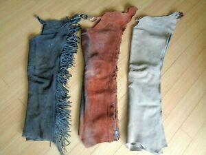 LOT(3) PAIR Neat Old Vintage Working Cowboy Ranch CHAPS~Movie Set~Reenactment~NR