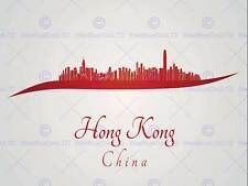 PAINTING ABSTRACT CITYSCAPE RED HONG KONG 30x40 cms POSTER PRINT BMP11612