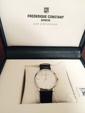 Leather Strap White Dial Watch $2,250 Frederique Constant Slim Slimline Black