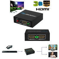 1 in 2 out 1080P HDCP Stripper 1x2 Splitter Power Signal Amplifier HDMI PC HDTV