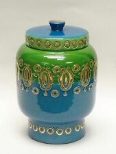 RARE 60's ROSENTHAL NETTER CERAMIC JAR BLUE, GREEN GOLD INCISED PATTERN * ITALY