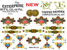 Enterprise MFG. Co.  No. 1  Coffee Grinder Mill Restoration Decal Set