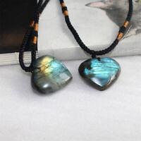 Natural Heart Pendant Labradorite Necklace Gem Moonstone Stone Crystal EBS