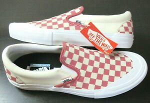 Vans Men's Slip On Pro Checkerboard Skate shoes Mineral Red White Size 8 NIB