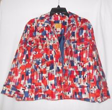 Ruby Rd Women's Jacket/Blazer Red/Cream/Coral/Pink/Navy Multi 3/4 sleeve sz 12
