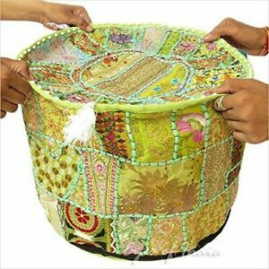 Round Stool Ottoman Cover Ethnic Patchwork Cotton Pouffe Cover Handmade Cover