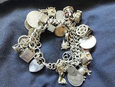 Vintage Muy Pesada enlace de cordón de plata esterlina pulsera con dijes encantos - 37 - 158.5g