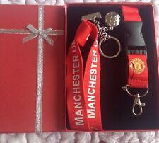 Football Man United Lanyard Keyring  Boxed Gift Set STRAP  Red Brand New No 2