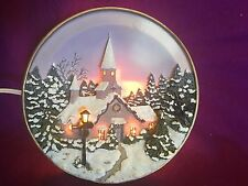 3D lighted House Winter Scene MR 1040-6 Lighted Plate Decor Popular Imports 2000