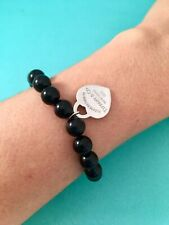 57d2cf6e6 Tiffany & Co Heart Tag In Silver On A Black Onyx Bead Bracelet. 7