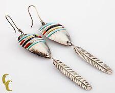 & Turquoise Dangle Leaf Earrings Native American .925 sterling Silver
