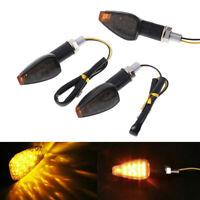 Motocicleta universal 14 LED indicadores de señal giro intermitente luz amarilla