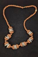 Vintage Brown White Textured Wood Bead Choker Necklace 14183