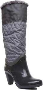 Womens Ladies Half Rubber Knee High Warm Boot With Mid Heel Size UK 3 - 8