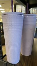 Starbucks Siren Lilac Lavender Purple Studded Diamond Grid Cold Cup Tumblers