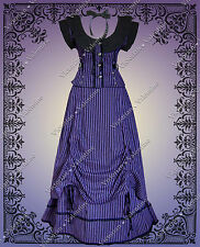Victorian Civil War Steampunk Halloween Purple Lolita Gothic Blouse & Skirt M