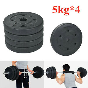 Weight Plates Set Free Dumbell Vinyl 1 inch Standard 20kg Gym Barbell