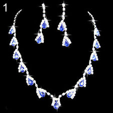 BLUE SAPPHIRE SILVER PLATED JEWELLERY SET WITH WHITE CRYSTALS VERY POPULAR !