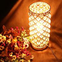 Modern Crystal Table Lamp Bedside Desk Light Home Shade Lighting Glass Bedroom