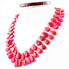 650.00 CTS NATURAL RICH RED RUBY 2 LINE PEAR SHAPE BEADS NECKLACE - ON SALE