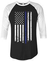 Threadrock Proud Mom Thin Blue Line American Flag Unisex Raglan T-shirt