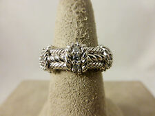 Judith Ripka Sterling & Diamonique Rope Cable Ring - Size 6