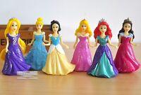 6pc/Set Princess Cake Topper Snow White Cinderella Ariel Belle Rapunzel Belle