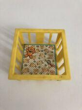 Vintage 1972 Fisher Price Little People Baby Nursery Yellow Playpen Crib Bed