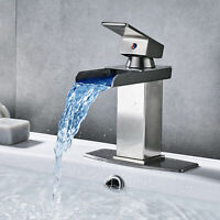 LED Waterfall Bathroom Basin Sink Faucet Brushed Nickel Lavatory Mixer Tap Cover