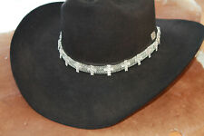 Western Silver Crystal Cross Hatband Cowgirl Rodeo Bling Adjustable