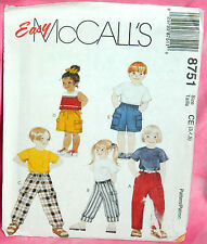 Uncut McCalls Childs 3,4,5 Easy Pull-On Cargo Style Pants & Shorts Pattern 8751