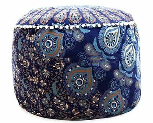 Indien Khambadiya Round Bean Bag Pouf Patchwork Ottoman Pouffe Cover Seat Stool