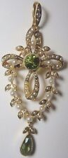 Antique Art NouVeau Peridot Seed Pearl 15CT Yellow Gold  Cross Lavalier Pendant