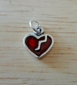 Small 9x10mm Red Enamel Broken Heart Sterling Silver Charm
