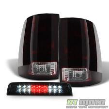 09-17 Dodge 1500 10-17 Ram 2500 3500 Blk Tinted Tail Lights+LED 3rd Brake Lamp