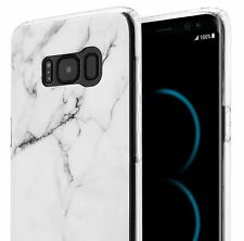 For Samsung Galaxy S8+ Plus -HARD TPU RUBBER GUMMY CASE COVER WHITE MARBLE STONE