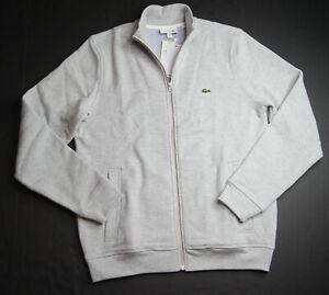 LACOSTE Men's Grey Classic Fit Zip Up Fleece Sweatshirt NEW NWT $145