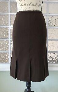 HARVE BENARD by Benard Holtzman Brown Box Pleat Pencil Skirt Stretch Lined 4P