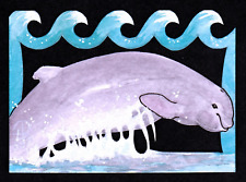 """New listing """"Beluga Whale"""" Aceo Original Watercolor and Ink Handcut Acrylic dolphin porpoise"""