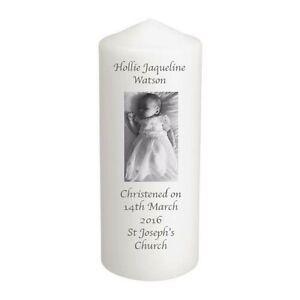 Personalised Candle Your Photo Text Christening Baptism Memory Keepsake Gift.