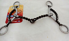 """Antiqued Brown Gag Bit Twisted Snaffle Sweet Iron 5"""" Horse Tack NWT Beaded Slide"""