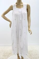 Adonna Cotton Long Nightgown White Embroidered pink Flowers Cottagecore Large