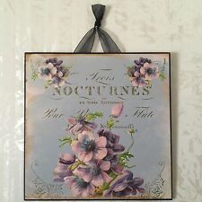 Vintage Paris Shabby Purple Blue Floral Plaque Sign Wall Decor French Country