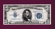 Fr.1651m  $5  1934 A  MULE  SILVER CERTIFICATE NOTE - FANCY SN E 88888 - 371 A