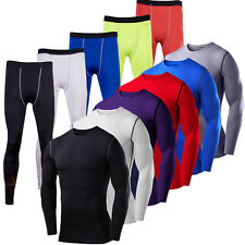 Men Compression Under Shirt Base Layer Cycling Thermal Tight Gym Pants Leggings
